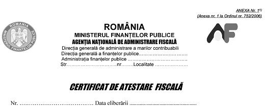 Obținerea certificatului de rezidenţă fiscală